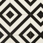 Carreaux de ciment losange noir et blanc