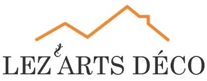logo Lez'art Déco avec un lézard et trait stylisé du toit d'une maison