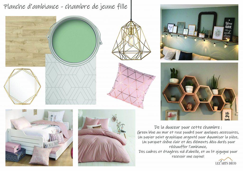 Planche d'ambiance pour une chambre de jeune fille aux couleurs douces, style scandinave