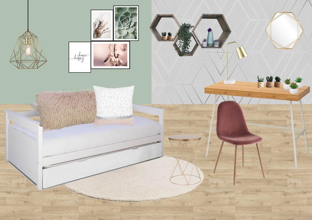 Planche mobilier d'une chambre de jeune fille aux couleurs douces, style scandinave