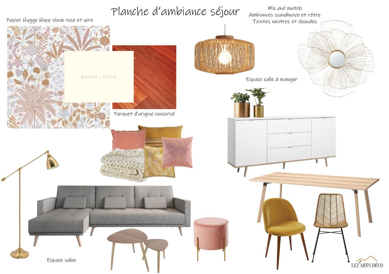 Planche d'ambiance du séjour, style scandinave et rétro, mix and match.