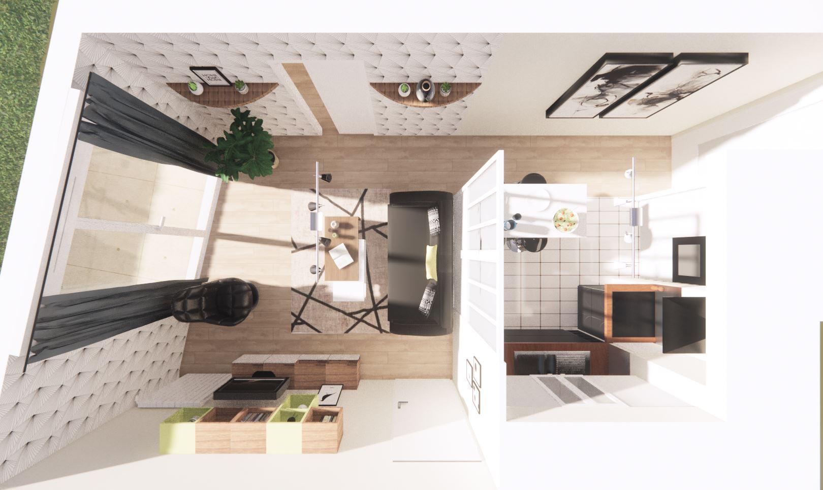 Projet de rénovation avec ce visuel 3D sur le séjour et la cuisine.