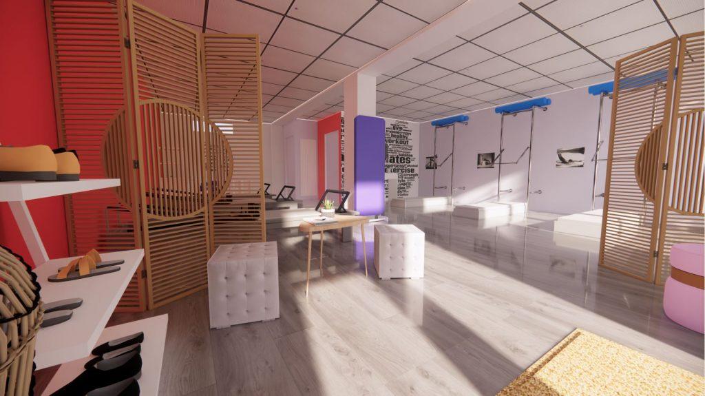 Nouvelle décoration pour un studio Pilates à Egly, par Lez'Arts Déco, décoratrice d'intérieur en Essonne.