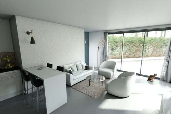 Vue réaliste de la cuisine et du séjour, suite à la création d'une extension de maison en seine et marne