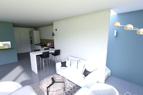 Vue réaliste du séjour et de la cuisine suite à la création d'une extention de maison en seine et marne, projet fermé