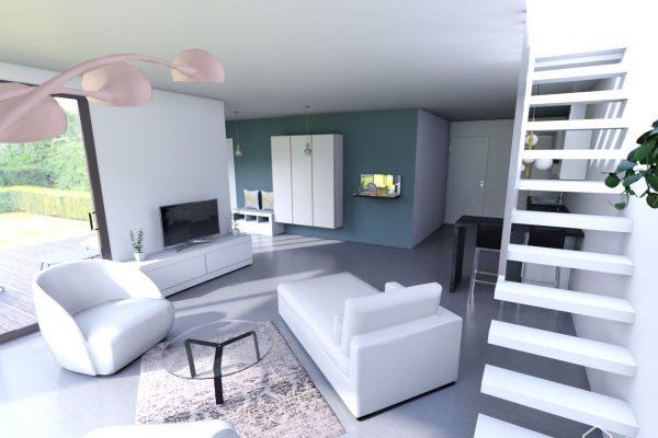 Vue réaliste du salon suite à la création d'une extension de maison en seine et marne