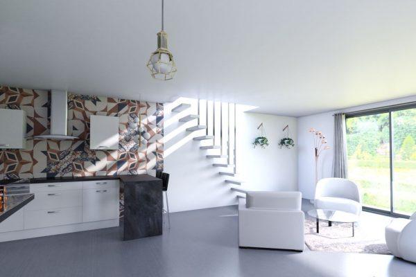 Vue réaliste de la cuisine et du séjour suite à la création d'une extention de maison en seine et marne, projet ouvert
