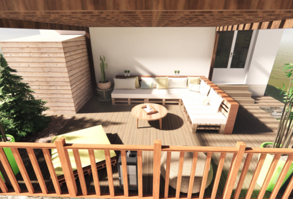 Rénovation d'une maison à breuillet, avec agencement d'une terrasse à l'esprit récup nature