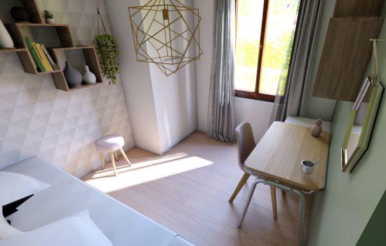 Vue 3D de la chambre de jeune fille aux couleurs douces, style scandinave