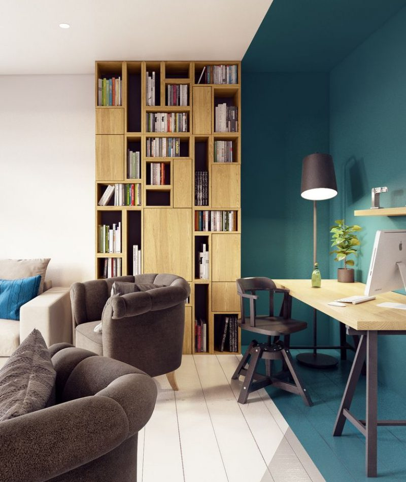 color zoning du bureau dans un salon
