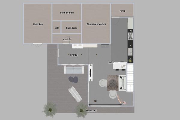 Plan d'agencement 2D du projet fermé, extension d'une maison