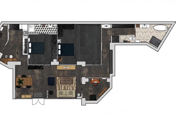 Plan colorisé du nouvel agencement, projet mmi, paris 10