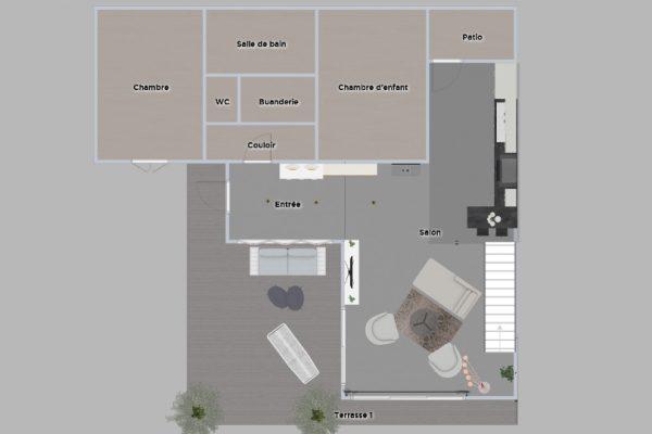Plan d'agencement ouvert, extension d'une maison