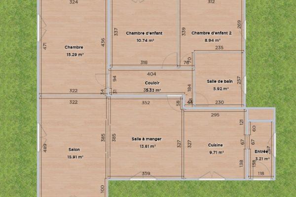 plan 2D coté de la maison en essonne