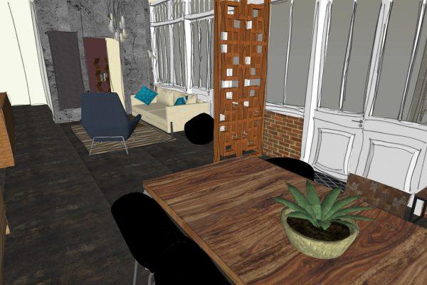 Projet d'agencement d'un salon, d'une salle à manger et d'un bureau dans un appartement parisien.