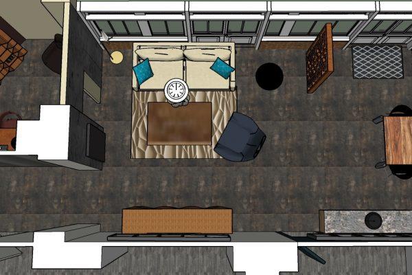 Vue de dessus, projet d'agencement du sejour et du bureau dans un appartement parisien.