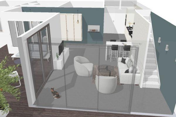 Vue 3D sur l'escalier, projet fermé, extension d'une maison en seine et marne