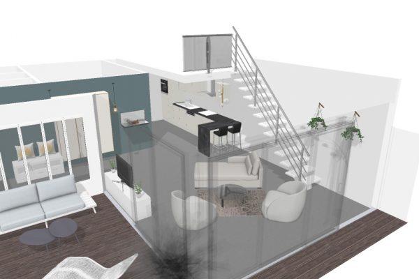 Vue 3D générale de l'extension, projet ouvert