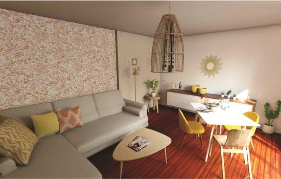 Vue 3D du séjour, ambiance scandinave et rétro, teintes douces et chaudes.
