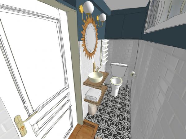 Vue 3D de la salle d'eau au style rétro dans une maison de Breuillet.