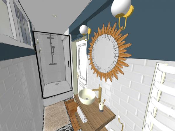 Vue 3D depuis les toilettes, salle d'eau au style rétro, maison à Breuillet.