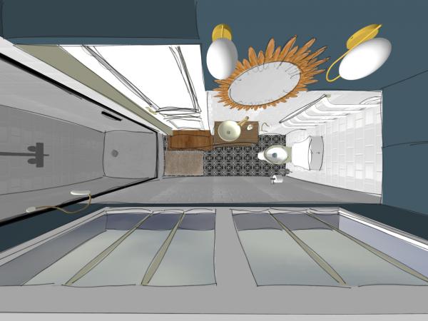 Vue 3D du dessus, salle d'eau au style rétro, maison à Breuillet.