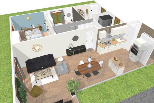 vue 3D du plan général de la maison en essonne