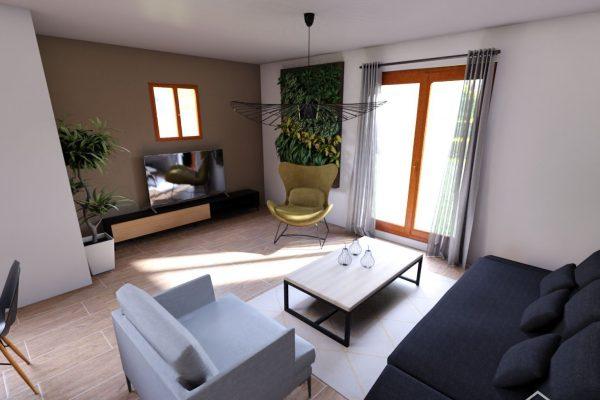 Vue 3D du salon d'une maison rénovée dans l'essonne