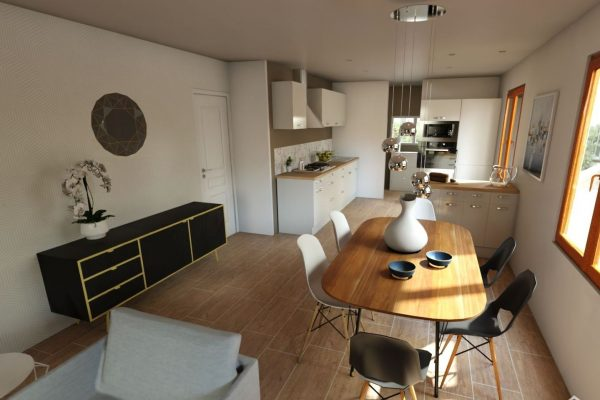 Visuel 3D de la partie séjour et cuisine d'une maison en essonne
