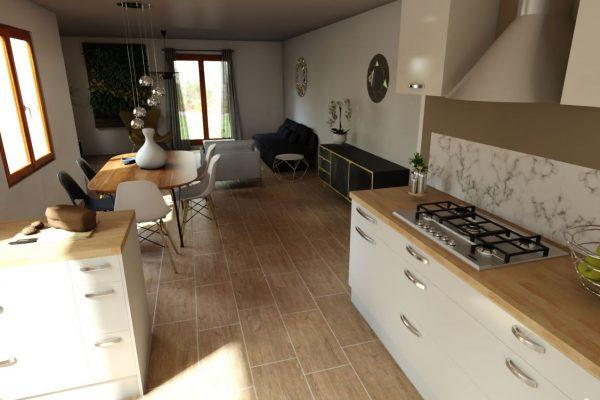 Visuel 3D de la partie cuisine et salle à manger d'une maison en essonne
